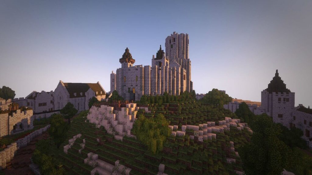awesome Minecraft castle build on dedicated server VPS